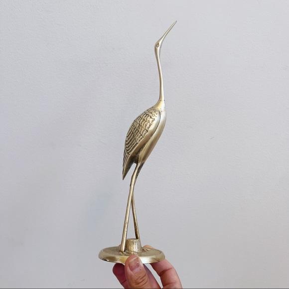 Vintage Brass Heron Crane Sleek Bird Figure Decor